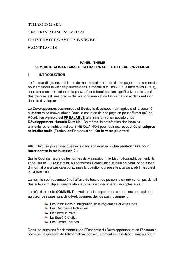 Thiam IsmaelSection alimentationUniversité Gaston BergerSaint LouisPANEL: THEMESECURITE ALIMENTAIRE ET NUTRITIONNELLE ET D...