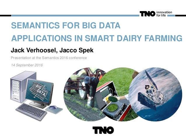 SEMANTICS FOR BIG DATA APPLICATIONS IN SMART DAIRY FARMING Jack Verhoosel, Jacco Spek Presentation at the Semantics 2016 c...