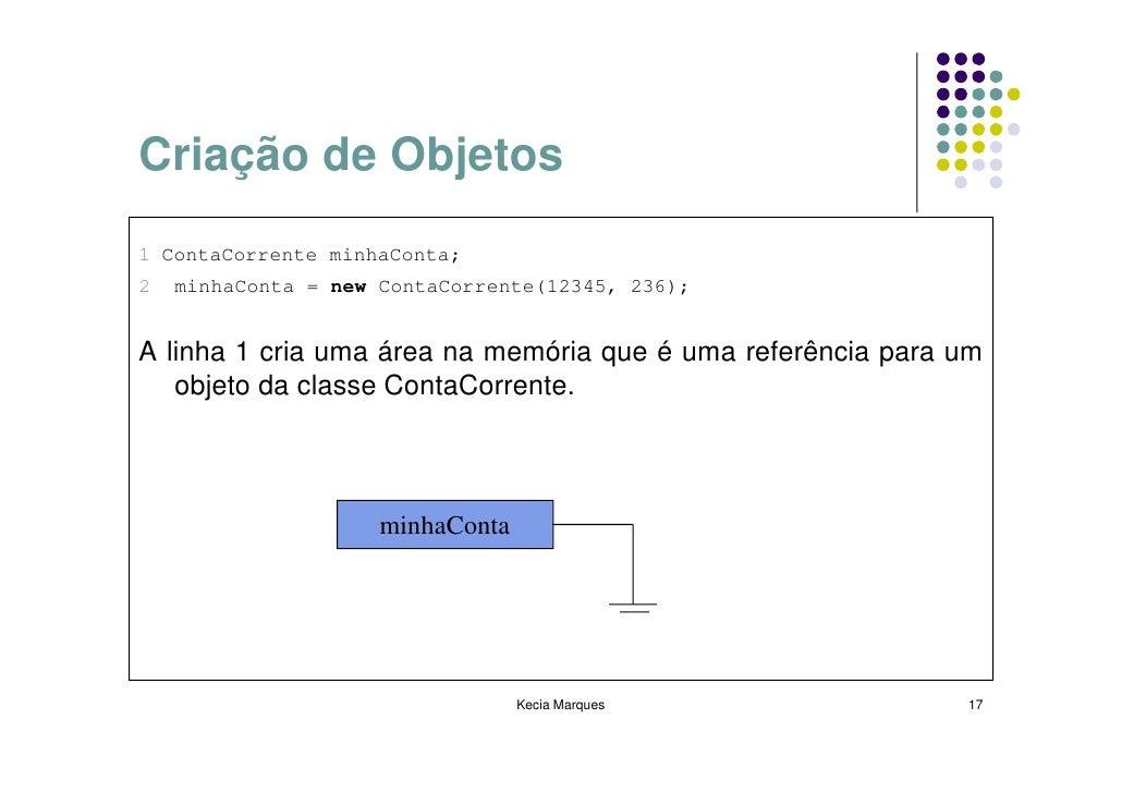 Criação de Objetos 1 ContaCorrente minhaConta; 2   minhaConta = new ContaCorrente(12345, 236);   A linha 1 cria uma área n...