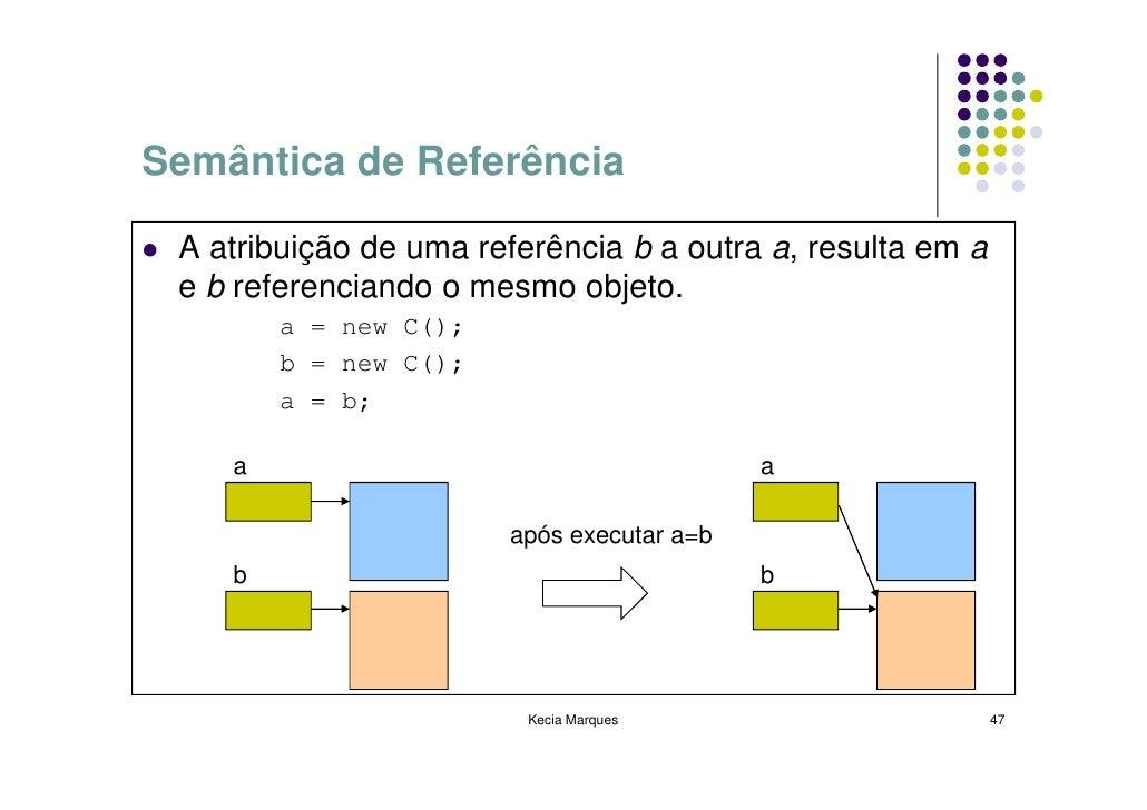 Semântica de Referência   A atribuição de uma referência b a outra a, resulta em a  e b referenciando o mesmo objeto.     ...