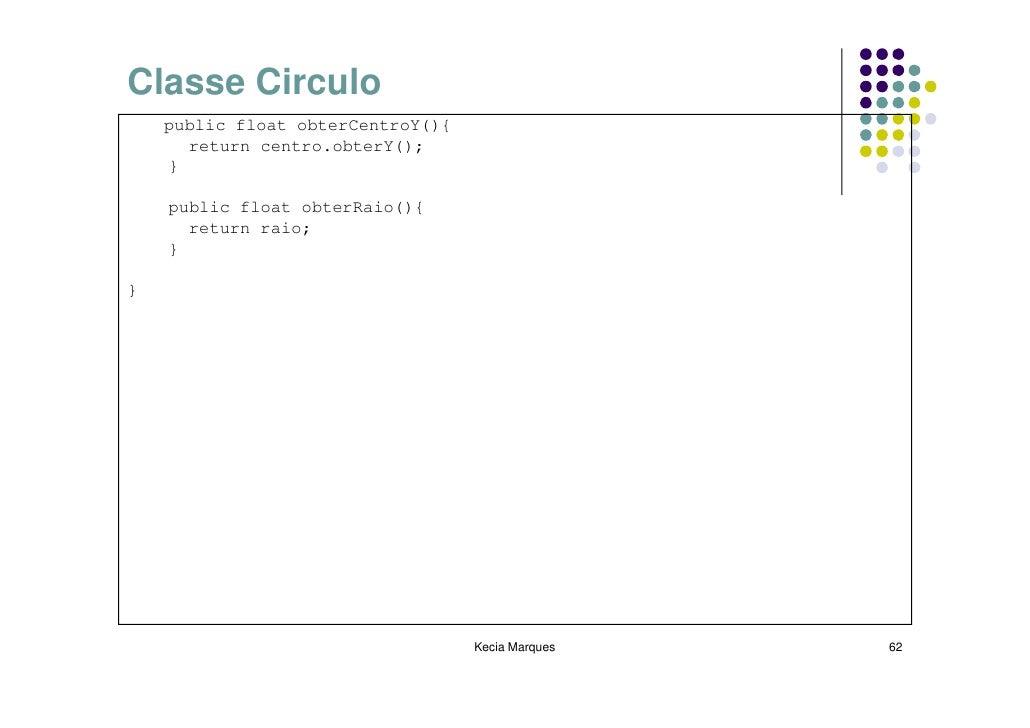 Classe Circulo     public float obterCentroY(){       return centro.obterY();     }      public float obterRaio(){       r...