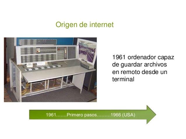 1961…….Primero pasos………1966 (USA) Origen de internet 1961 ordenador capaz de guardar archivos en remoto desde un terminal