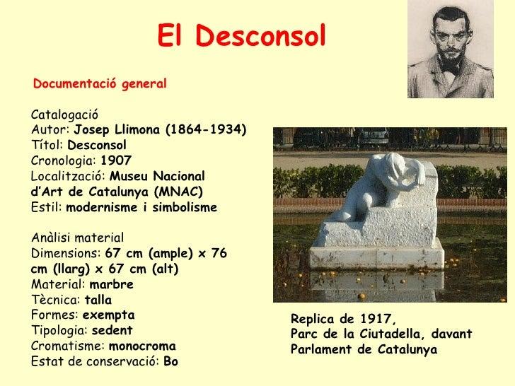 <ul><li>Documentació general   </li></ul><ul><ul><li>Catalogació </li></ul></ul><ul><ul><li>Autor:  Josep Llimona (1864-19...