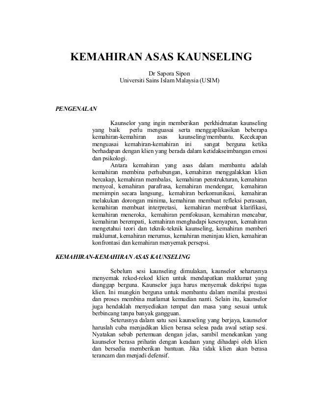 KEMAHIRAN ASAS KAUNSELING                               Dr Sapora Sipon                   Universiti Sains Islam Malaysia ...