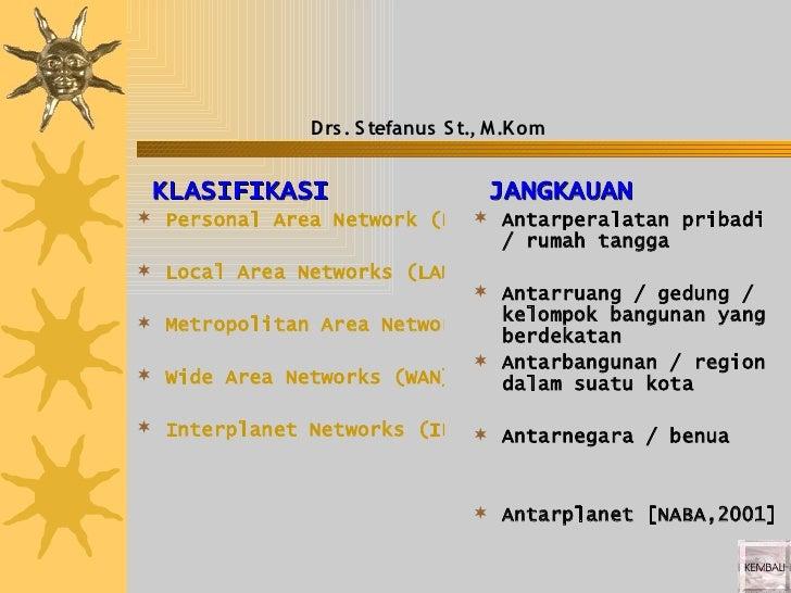 Drs . S tefanus S t., M.K om   KLASIFIKASI                     JANGKAUAN  Personal Area Network (PAN) Antarperalatan pr...