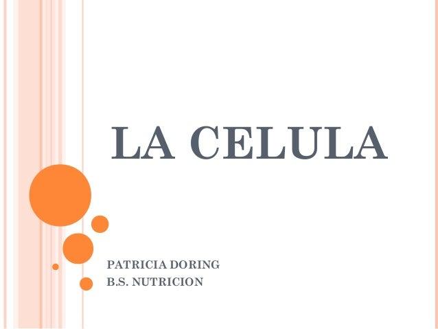 LA CELULA PATRICIA DORING B.S. NUTRICION