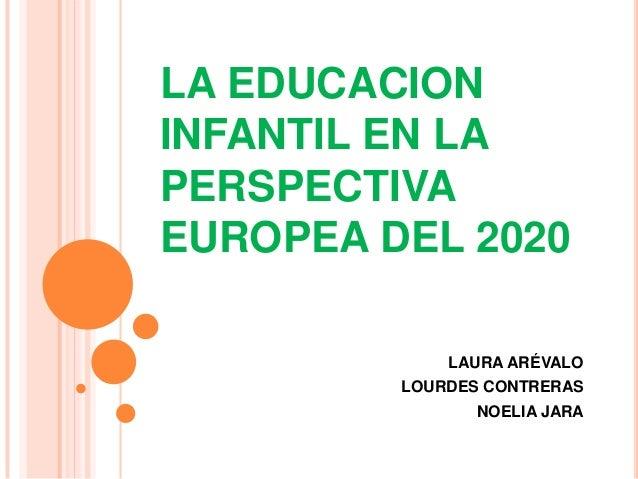 LA EDUCACIONINFANTIL EN LAPERSPECTIVAEUROPEA DEL 2020LAURA ARÉVALOLOURDES CONTRERASNOELIA JARA