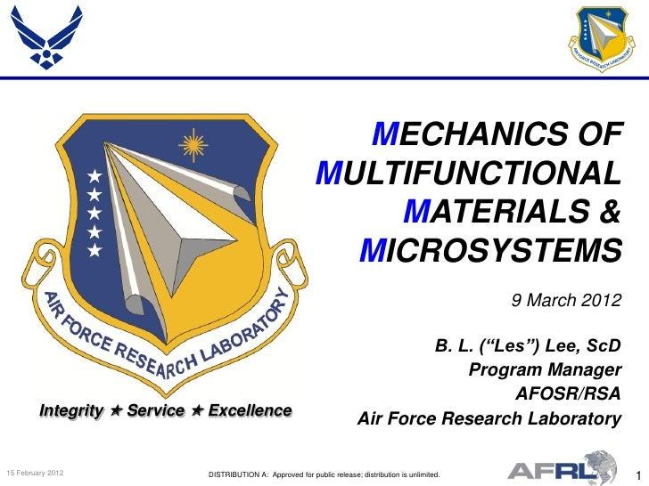 MECHANICS OF                                                              MULTIFUNCTIONAL                                 ...