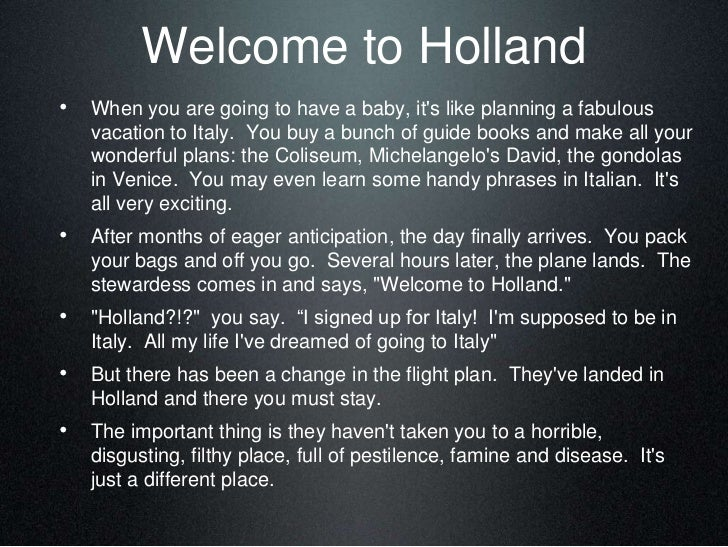 Welcome To Holland Poem - What This Means To A Special Needs Mom