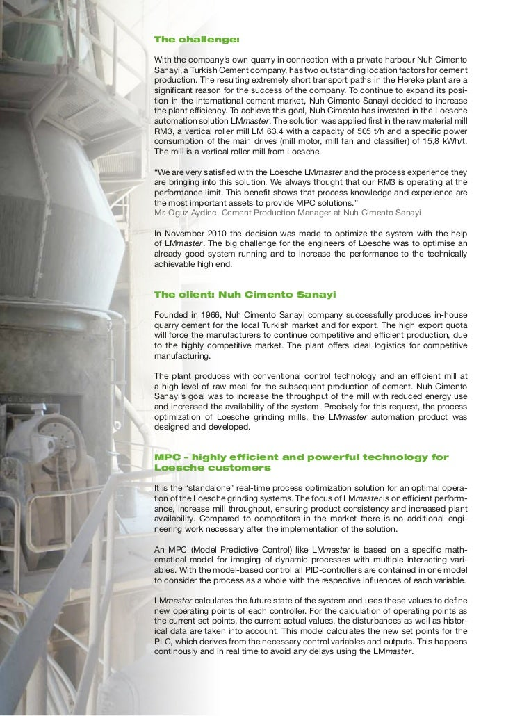 Improving the Performance of Loesche´s Vertical Mill 3 at Nuh Cimento in Hereke with LMmaster Slide 2
