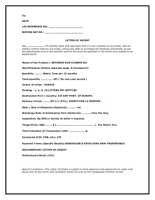 1loi letter of intent – Letter of Intention Template