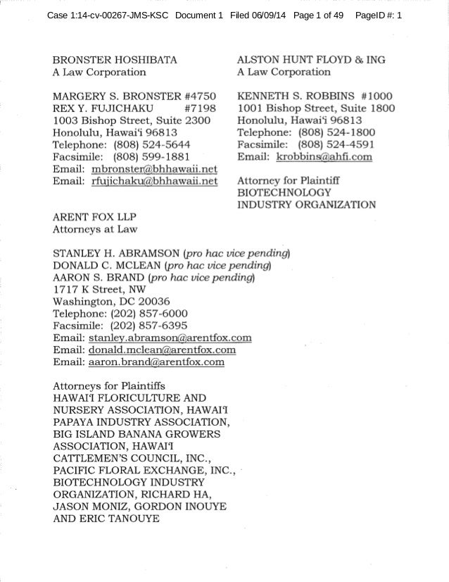 Case 1:14-cv-00267-JMS-KSC Document 1 Filed 06/09/14 Page 1 of 49 PageID #: 1