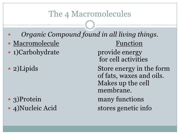 macromolecules of the cell Dive into the different types of macromolecules, what they are made up of, and how they are built up and broken down learn for free about math, art, computer programming, economics, physics, chemistry, biology, medicine, finance, history, and more.
