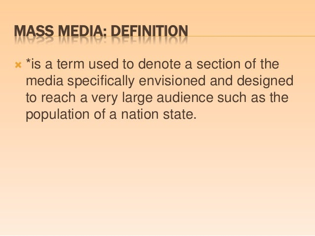definition of mass media pdf