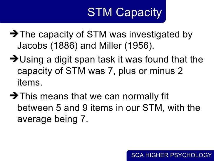 stm duration capacity and encoding essay The model has various elements to: capacity, duration and encoding atkinson and shiffrin explained that the brain processes information once a stimulus is activated and then so it enters the sensory memory.