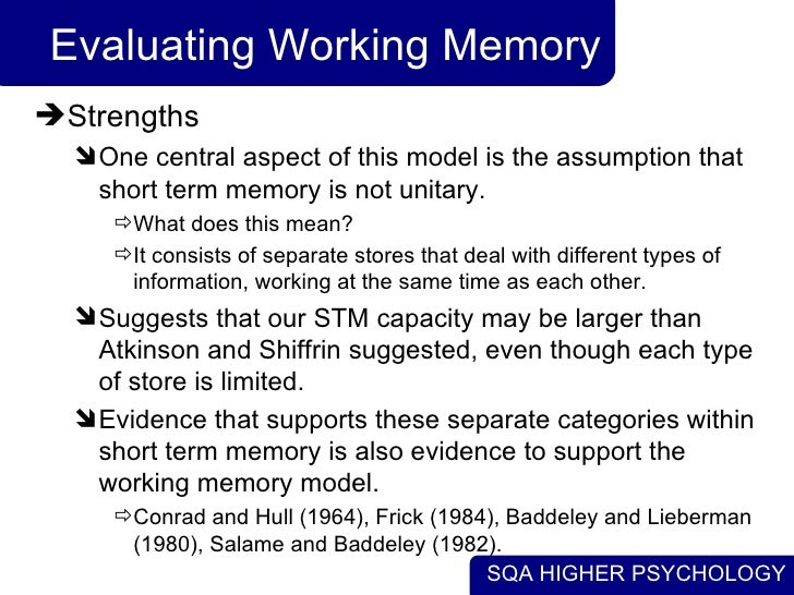 evaluate the working memory model Working memory temporarily holds and manipulates information the  phonological loop is one component of this model that helps us remember verbal.