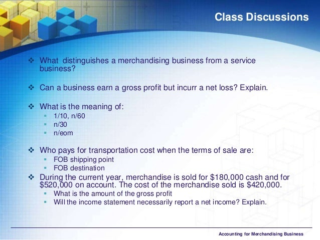 a chart of accounts for a merchandising business