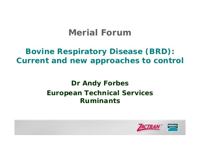 Merial Forum Bovine Respiratory Disease (BRD): Current and new approaches to control Dr Andy Forbes European Technical Ser...