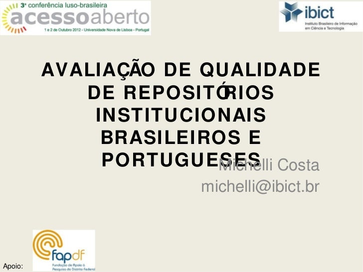 AVALIAÇÃO DE QUALIDADE            DE REPOSITÓ RIOS             INSTITUCIONAIS              BRASILEIROS E              PORT...