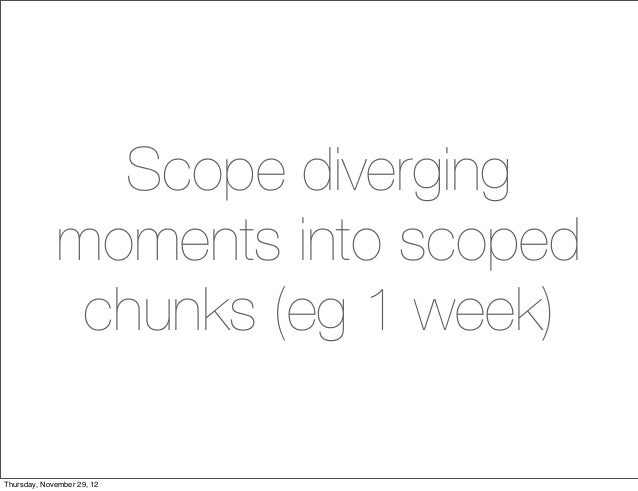 Scope diverging             moments into scoped              chunks (eg 1 week)Thursday, November 29, 12