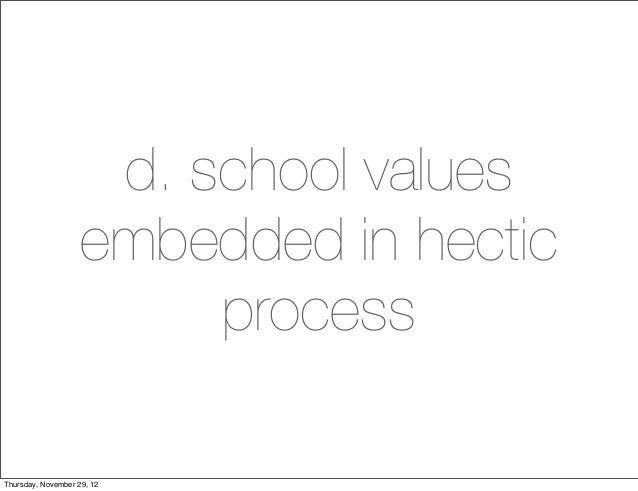 d. school values                    embedded in hectic                         processThursday, November 29, 12