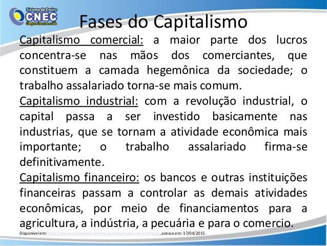 Fases do Capitalismo Capitalismo comercial: a maior parte dos lucros concentra-se nas mãos dos comerciantes, que constitue...
