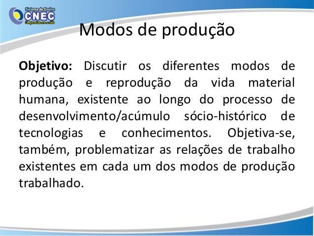 Modos de produção Objetivo: Discutir os diferentes modos de produção e reprodução da vida material humana, existente ao lo...