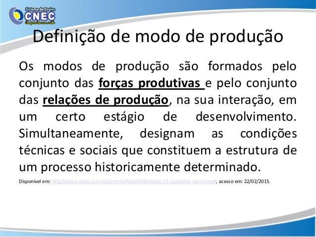 Definição de modo de produção Os modos de produção são formados pelo conjunto das forças produtivas e pelo conjunto das re...