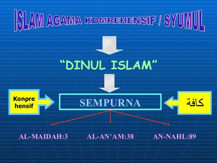 "ISLAM AGAMA KOMREHENSIF / SYUMUL "" DINUL ISLAM"" SEMPURNA AL-MAIDAH:3 AL-AN'AM:38 AN-NAHL:89 كافة Konpre hensif"