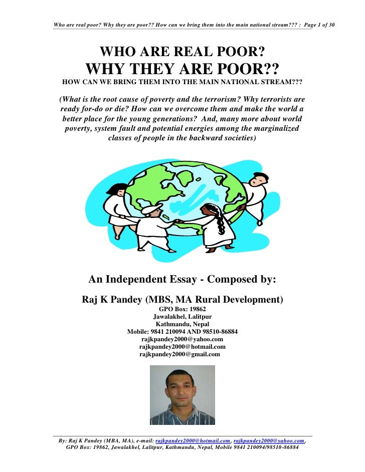 Who are real poor? Why they are poor?? How can we bring them into the main national stream??? : Page 1 of 30              ...