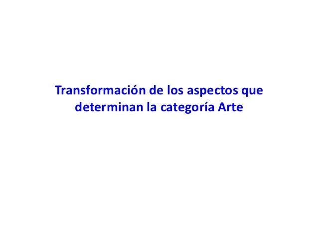 Transformación de los aspectos que   determinan la categoría Arte