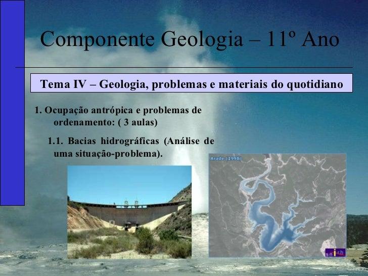 Componente Geologia – 11º Ano Tema IV – Geologia, problemas e materiais do quotidiano 1. Ocupação antrópica e problemas de...