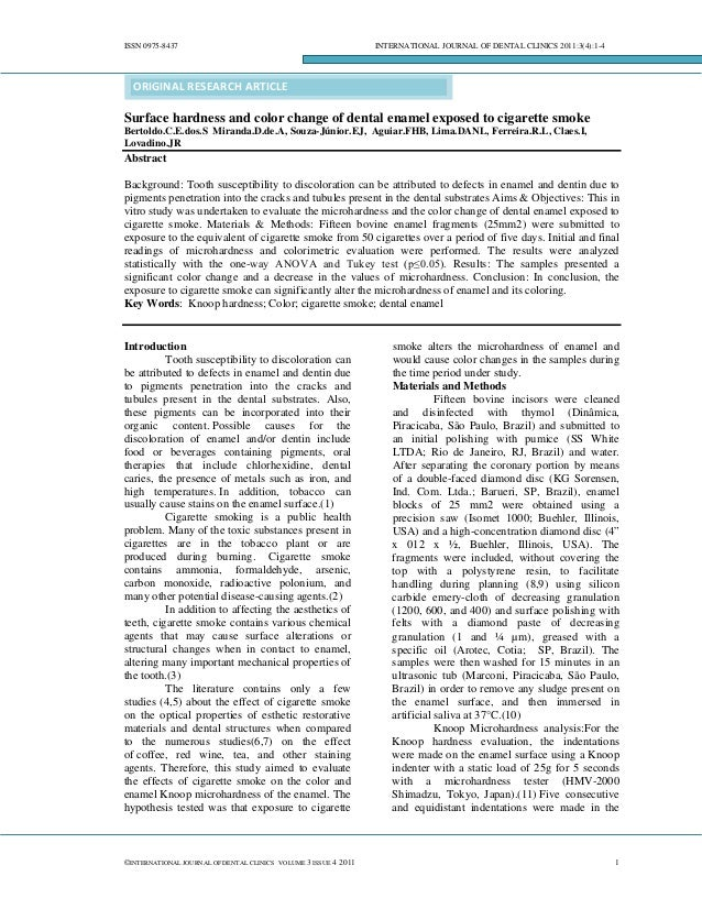 ISSN 0975-8437  INTERNATIONAL JOURNAL OF DENTAL CLINICS 2011:3(4):1-4  ORIGINAL RESEARCH ARTICLE  Surface hardness and col...