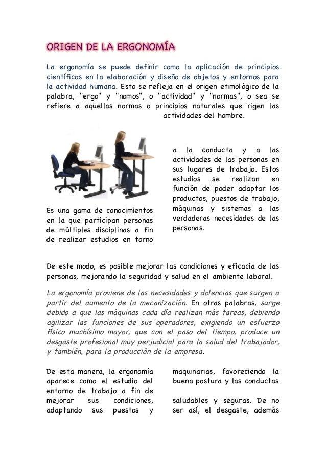1 origen de la ergonom a for Caracteristicas de la ergonomia