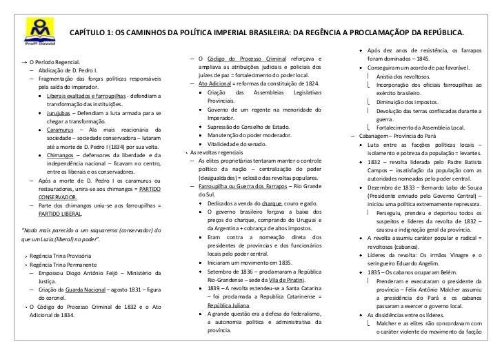CAPÍTULO 1: OS CAMINHOS DA POLÍTICA IMPERIAL BRASILEIRA: DA REGÊNCIA A PROCLAMAÇÃOP DA REPÚBLICA.                         ...