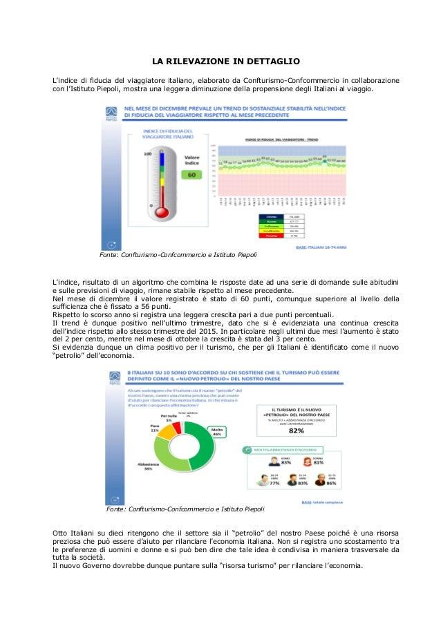 LA RILEVAZIONE IN DETTAGLIO L'indice di fiducia del viaggiatore italiano, elaborato da Confturismo-Confcommercio in collab...
