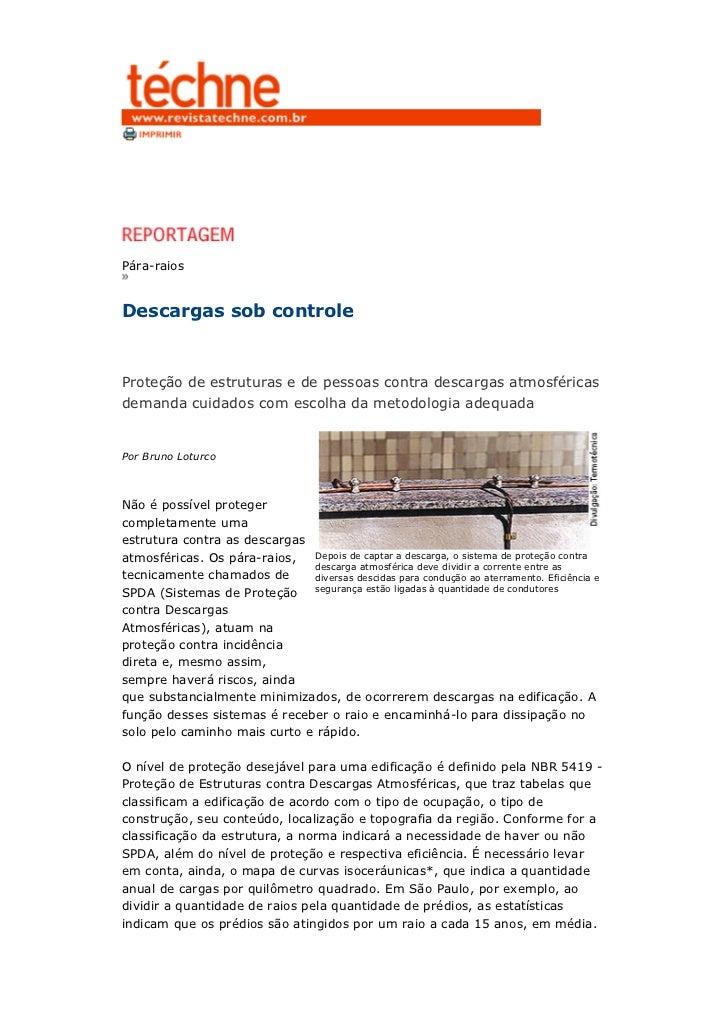 Pára-raiosDescargas sob controleProteção de estruturas e de pessoas contra descargas atmosféricasdemanda cuidados com esco...
