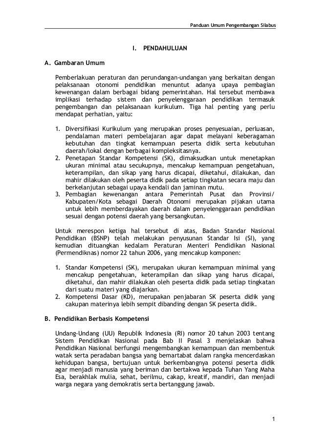 Panduan Umum Pengembangan Silabus                             I.   PENDAHULUANA. Gambaran Umum   Pemberlakuan peraturan da...