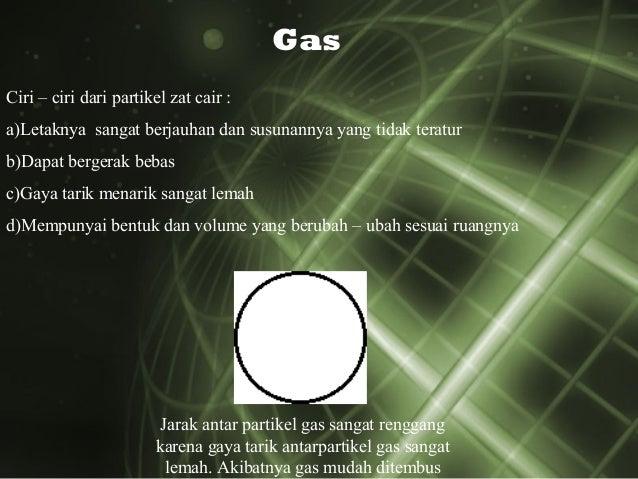 Gas Ciri – ciri dari partikel zat cair : a)Letaknya sangat berjauhan dan susunannya yang tidak teratur b)Dapat bergerak be...