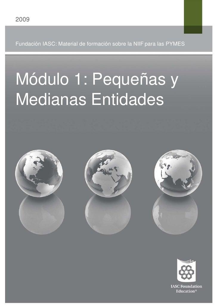 2009Fundación IASC: Material de formación sobre la NIIF para las PYMESMódulo 1: Pequeñas yMedianas Entidades