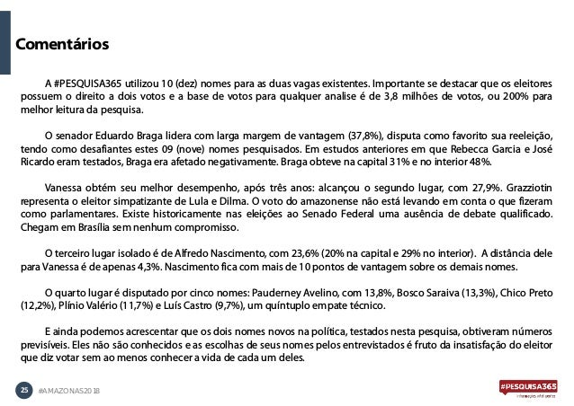25 #AMAZONAS2018 A #PESQUISA365 utilizou 10 (dez) nomes para as duas vagas existentes. Importante se destacar que os eleit...