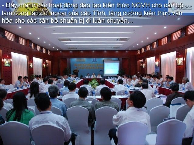 - Đẩy mạnh các hoạt động đào tạo kiến thức NGVH cho cán bộ- Đẩy mạnh các hoạt động đào tạo kiến thức NGVH cho cán bộ làm c...