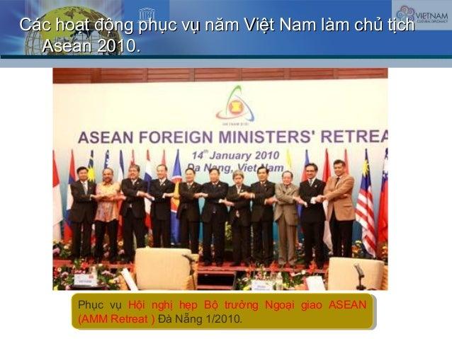 Các hoạt động phục vụ năm Việt Nam làm chủ tịchCác hoạt động phục vụ năm Việt Nam làm chủ tịch Asean 2010.Asean 2010. Phục...