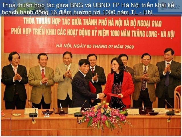 Thoả thuận hợp tác giữa BNG và UBND TP Hà Nội triển khai kếThoả thuận hợp tác giữa BNG và UBND TP Hà Nội triển khai kế hoạ...