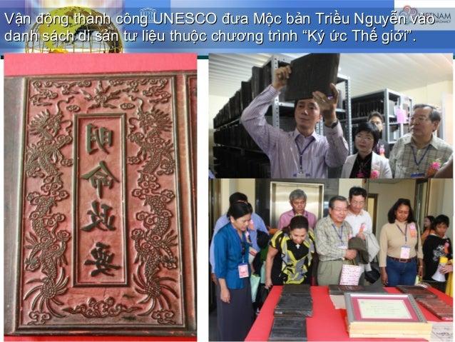Vận động thành công UNESCO đưa Mộc bản Triều Nguyễn vàoVận động thành công UNESCO đưa Mộc bản Triều Nguyễn vào danh sách d...