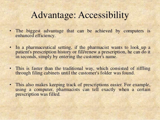 use of computer in community pharmacy Find out what computer-rx pharmacy software solutions can do for your business pharmacy software solutions for community pharmacies more than 30 years of experience partnering with community pharmacy to improve patient health.