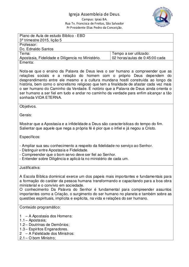 Fabuloso PLANO DE AULA PARA ESCOLA BÍBLICA DOMINICAL - EBD DS34
