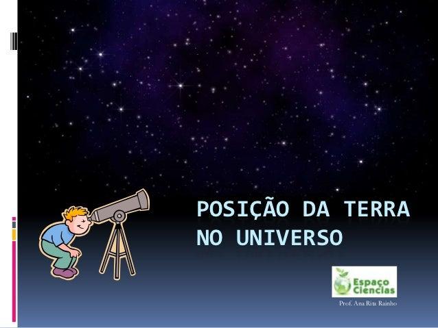 POSIÇÃO DA TERRANO UNIVERSO          Prof. Ana Rita Rainho