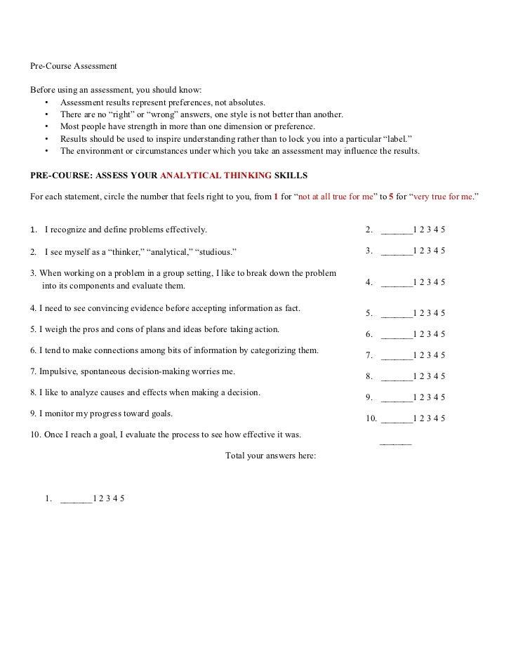 1 pre-course assessment