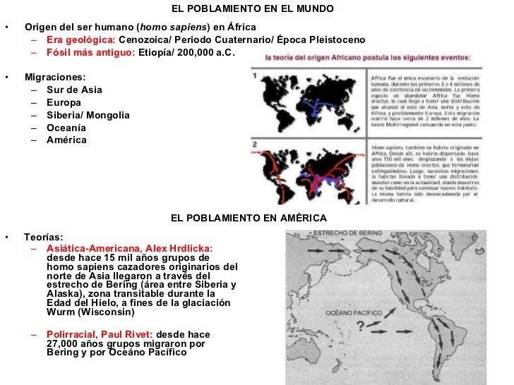 EL POBLAMIENTO EN EL MUNDO <ul><li>Origen del ser humano ( homo sapiens ) en África </li></ul><ul><ul><li>Era geológica:  ...